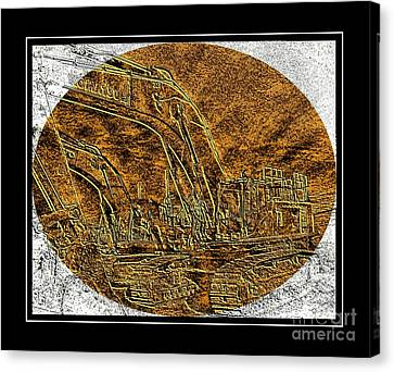Brass-type Etching - Oval - Construction Worker Canvas Print