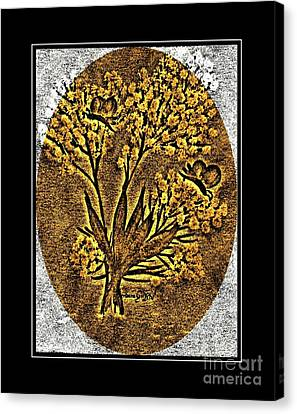 Brass-type Etching - Oval - Butterflies And Babies Breath Canvas Print