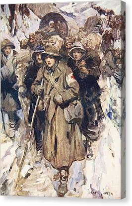 Brave Nurses In The Retreat Canvas Print by Cyrus Cuneo