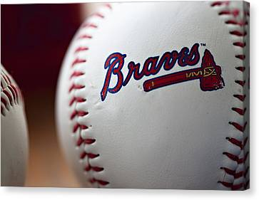 Mlb Canvas Print - Braves Baseball by Ricky Barnard