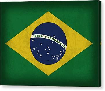 Brazil Flag Vintage Distressed Finish Canvas Print by Design Turnpike