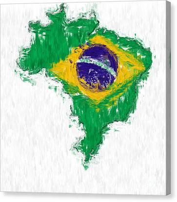 Brazil Painted Flag Map Canvas Print by Antony McAulay