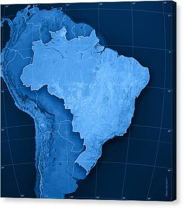 Brazil Topographic Map Canvas Print by Frank Ramspott