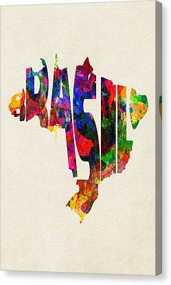 Brazil Typographic Watercolor Map Canvas Print by Ayse Deniz