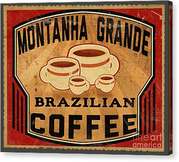 Brazilian Coffee Label 1 Canvas Print by Cinema Photography