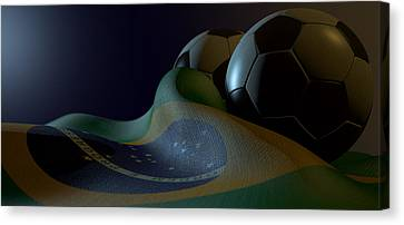 Brazilian Flag And Soccer Ball Canvas Print by Allan Swart