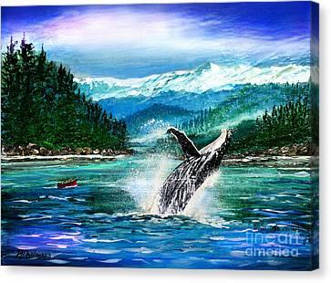 Breaching Humpback Whale Canvas Print by Patricia L Davidson