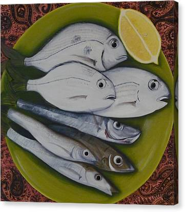 Canvas Print featuring the painting Bread And Butter Plate by Helen Syron