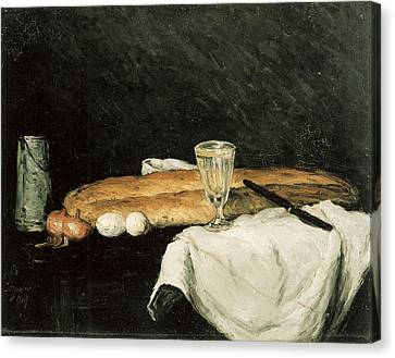 Bread And Eggs Canvas Print by Paul Cezanne