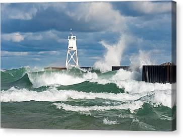 Break Wall Waves Canvas Print