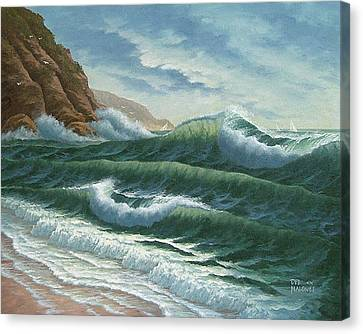 Sandy Beach Canvas Print - Breakers At Big Sur by Del Malonee