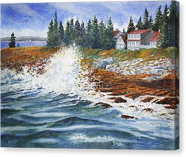 Canvas Print featuring the painting Breakers At Pemaquid by Roger Rockefeller