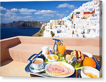 Breakfast At Terrace Canvas Print by Aiolos Greek Collections