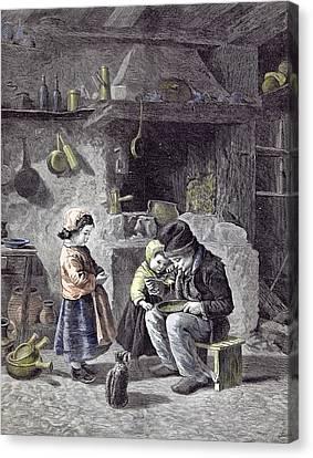 Breakfast Children Kitchen Cat 1877  Children Pots Pans Canvas Print