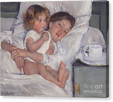 Breakfast In Bed Canvas Print by Mary Cassatt