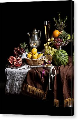 Breakfast Piece With Fruits And Flute Glass Canvas Print by Levin Rodriguez