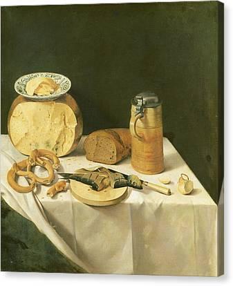 Tankard Canvas Print - Breakfast Still Life Oil On Canvas by Johann Georg Hinz
