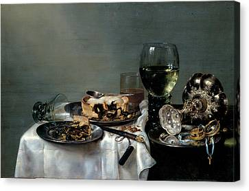 Breakfast Table With Blackberry Pie Canvas Print by Willem Claeszoon Heda