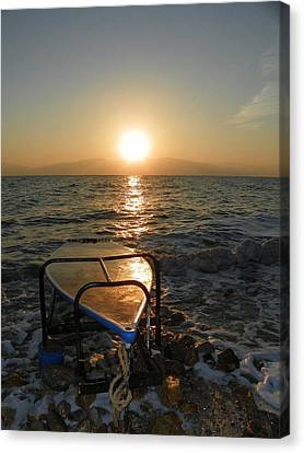 Breaking Dawn At The Dead Sea Canvas Print by Noreen HaCohen