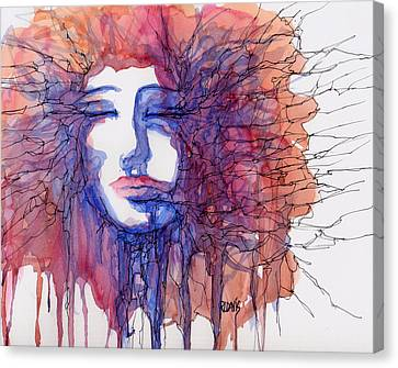 Canvas Print featuring the painting Breaking Out Loud by Rebecca Davis