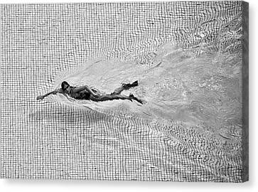 Swimmers Canvas Print - Breaking The Net by C.s. Tjandra