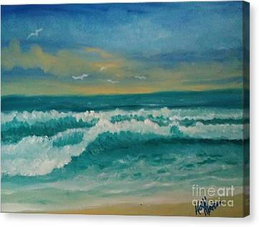 Canvas Print featuring the painting Breaking Waves by Holly Martinson