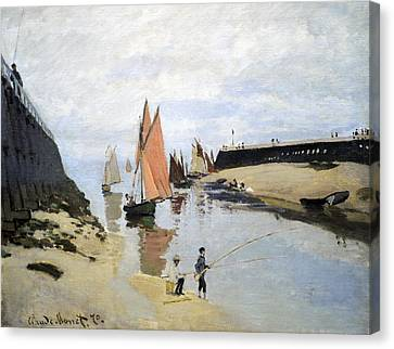 Breakwater At Trouville Canvas Print by Claude Monet