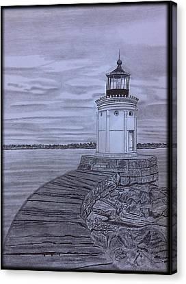 Breakwater Bug Lighthouse Canvas Print by Tony Clark