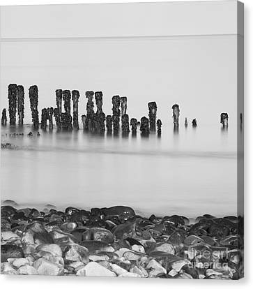 Breakwater Squared Canvas Print by Anne Gilbert