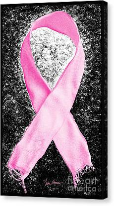 Breast Cancer Awareness Ribbon Canvas Print by Luke Moore
