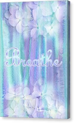 Breathe Refreshing Hydrangea Turquoise Purple Watercolor Canvas Print