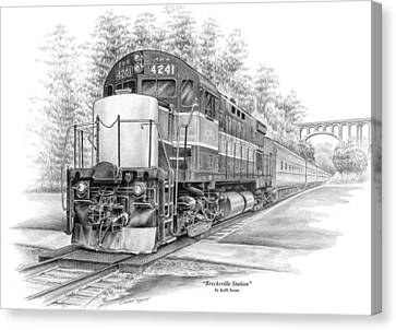 Canvas Print featuring the drawing Brecksville Station - Cuyahoga Valley National Park by Kelli Swan