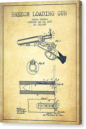 Breech Loading Shotgun Patent Drawing From 1879 - Vintage Canvas Print by Aged Pixel