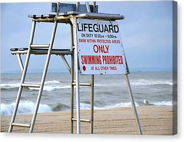 Breezy Lifeguard Chair Canvas Print