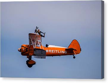 Canvas Print featuring the photograph Breitling Wingwalker Cockpit Stand by Scott Lyons