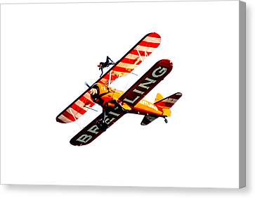 Canvas Print featuring the photograph Breitling Wingwalker High Contrast Sunderland Air Show 2014 by Scott Lyons