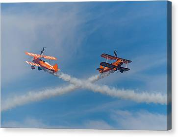 Canvas Print featuring the photograph Breitling Wingwalkers Cross Sunderland 2014 by Scott Lyons