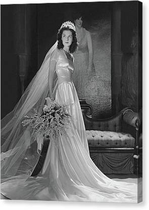 Brenda Frazier In A Herman Patrick Tappe Wedding Canvas Print by Horst P. Horst