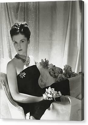 Debutante Canvas Print - Brenda Frazier Wears A Strapless Velvet Dress by Horst P. Horst