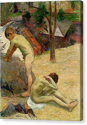 Breton Boys Bathing Canvas Print by Paul Gauguin