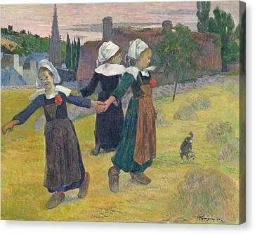 Breton Girls Dancing Canvas Print by Paul Gauguin