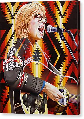 Canvas Print featuring the painting Brett Dennen by Joshua Morton