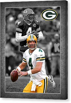 Football Canvas Print - Brett Favre Packers by Joe Hamilton