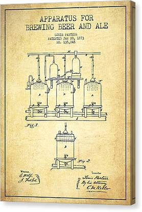 Brewing Beer And Ale Apparatus Patent Drawing From 1873 - Vintag Canvas Print