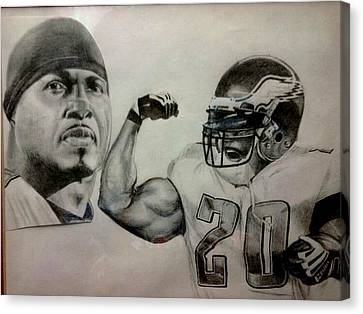 Brian Dawkins Canvas Print by Ezra Strayer