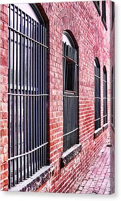 Window Bars Canvas Print - Brick Alley by HD Connelly