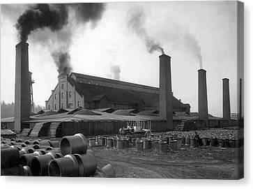 Brick And Lime Company Factory Canvas Print by Underwood Archives