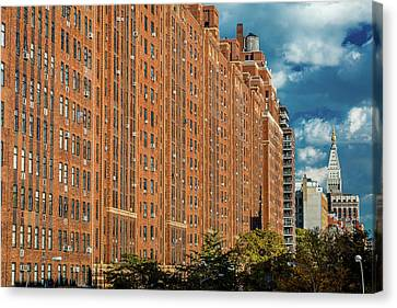 Old Brick Building Canvas Print - Brick Apartment Buildings New York City by Panoramic Images