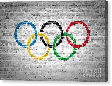 Brick Wall Olympic Movement Canvas Print by Antony McAulay