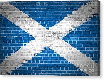 Brick Wall Scotland Saltire Canvas Print by Antony McAulay